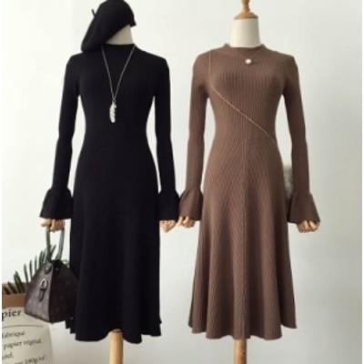 ロング ワンピース ニット 長袖 黒 ブラック かわいい 秋物 冬物 最新 レディース ファッション 2020 人気 可愛い 大人