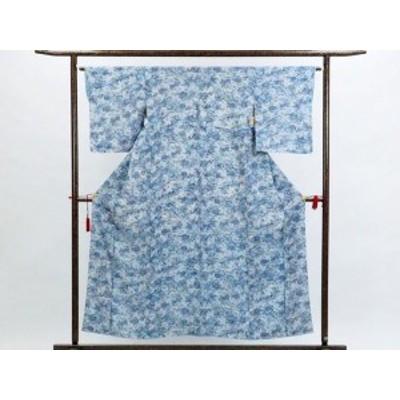 【中古】リサイクル小紋 / 正絹白地ブルー菊柄袷小紋着物 / レディース(古着 中古 小紋 リサイクル品)