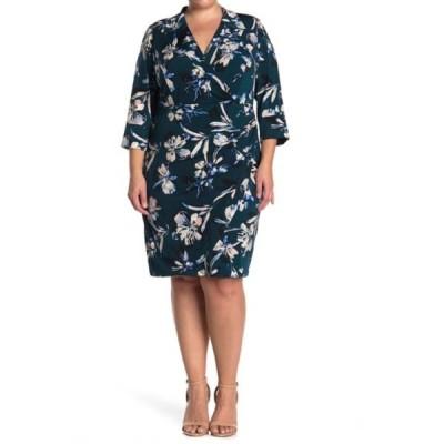 エリザジェイ レディース ワンピース トップス V-Neck Floral Printed Sheath Dress (Plus Size) GREEN