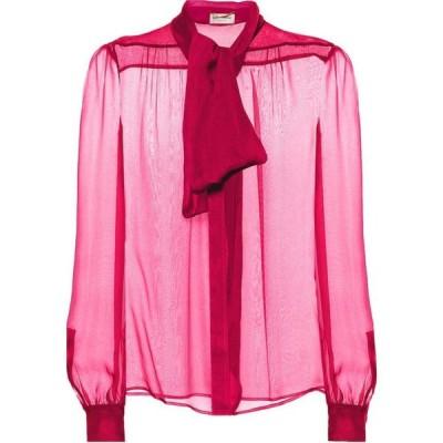 イヴ サンローラン Saint Laurent レディース ブラウス・シャツ トップス Silk Mousseline Blouse Pink