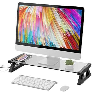 パソコン台 モニター台 机上台 デスクボード USBポート付き キーボード収納 強化ガラス 卓上 収納整理 (グレー)グレー