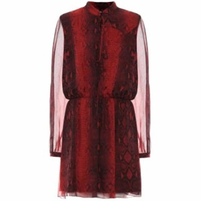 アミリ Amiri レディース ワンピース ワンピース・ドレス Printed silk minidress Burgundy