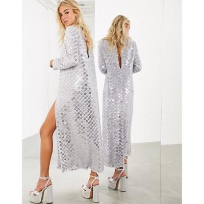 エイソス ASOS EDITION レディース ワンピース マキシ丈 ワンピース・ドレス Split Front Maxi Dress With Mirror Disc Sequins ペールグレー