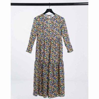 エイソス ASOS DESIGN レディース ワンピース ティアードドレス ワンピース・ドレス long sleeve tiered smock midi dress in floral pri
