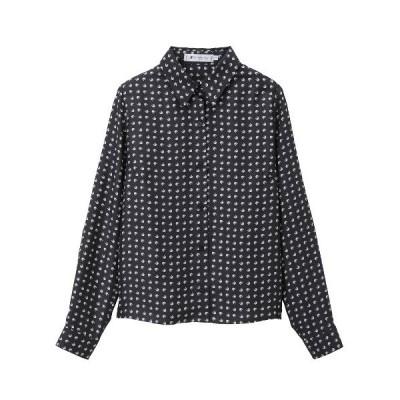 シャツ ブラウス Eモノグラムプリントシルクツイル シャツ