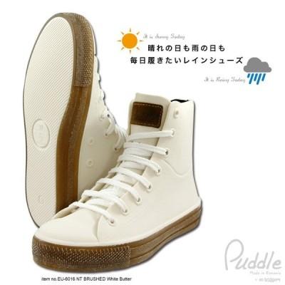 Puddle パドル レインシューズ スニーカー ブラッシュド加工 EU-6016+en bridge インソール レインブーツ  ショート 防水 晴雨兼用 レディース  アウトドア 靴