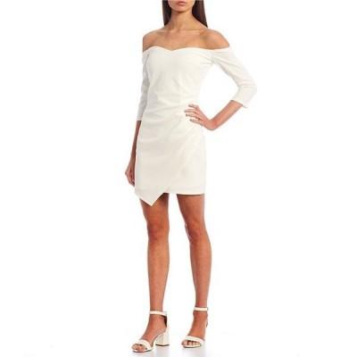 ミッドナイト ドール レディース ワンピース トップス Off-the-Shoulder Ruched Faux Wrap Dress