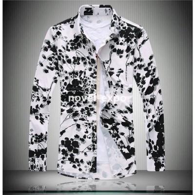 長袖シャツメンズシャツトップス大きいサイズありカジュアルシャツ花柄シャツ柄シャツ総柄プリント水墨画柄フラワーアロハクリンクル個性