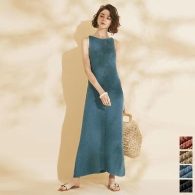 Re:EDIT エレガントなサマードレスに身を包む夏 [お家で洗える][人と地球にやさしい][低身長向けSサイズ対応]リネン混アメスリニットキャミワンピース ワンピース/ワンピース ベージュ ~S レディース
