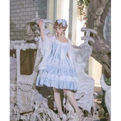 【納期30日】NyaNya 十六夜の歌姫 ハイウエスト クラシカル ジャンパースカート ゴシック リボン レース レッド ネイビー ウエストマーク