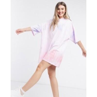 エイソス レディース ワンピース トップス ASOS DESIGN oversized t-shirt dress in pink and orange tie dye print Tye dye