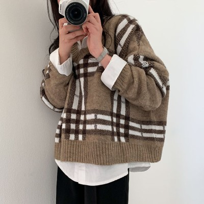 【BeiDelli]韓国NO.1女性のファッション!2color! / [高クオリティ]変わらない趣向、チェックVネックニット/韓国ファッション