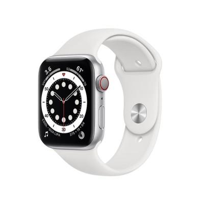 Apple Watch Series 6 GPS+Cellularモデル 44mm シルバーアルミニウムケースとホワイトスポーツバンド レギュラー MG2C3J/A