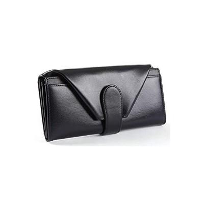 [レガーレ] 長財布 レディース 大容量 ギャルソン 財布 ガバッと開く チリトリ型 小銭入れ (ブラック)