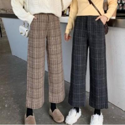 2色 チェック柄 ワイドパンツ ハイウエスト 大人可愛い レトロ カジュアル 韓国 オルチャン ファッション