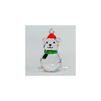 スワロフスキー  置物 おしゃれ インテリア オーナメント レア 限定  Swarovski Rocking Polar Bear, Red Hat, Green Scarf Crystal Authentic MIB 5393459