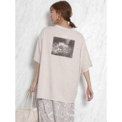 dazzlin フォトメッセージオーバーTシャツ(ベージュ)