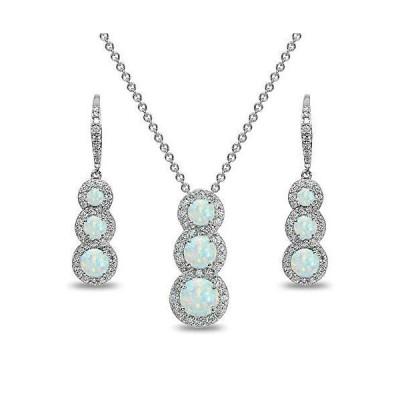 スターリングシルバー 本物の人工または模造宝石 ジャーニーハロー 3石ネックレス&イヤリングセット