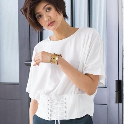 Ranan 【M~3L】コルセットデザインTシャツ グリーン L レディース