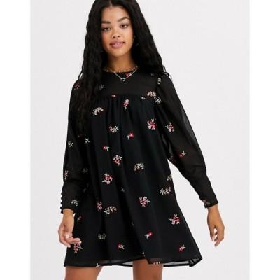 エイソス レディース ワンピース トップス ASOS DESIGN smock mini dress with all over embroidery