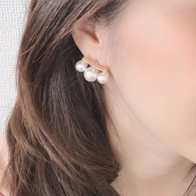 ピアス シルバー925ポスト 3つのパールが耳に沿って並ぶピアス  パーティー 普段使い プレゼント  シンプル かわいい 結婚式