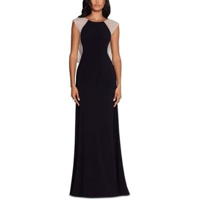 エックススケープ XSCAPE レディース パーティードレス ワンピース・ドレス Caviar-Beaded Drape-Back Gown Black/Silver/Nude