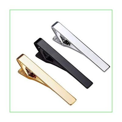 Roctee Tie Clips for Men, 3 Pack Classic Tie Clip Silver Gold Black Necktie Tie Bar Pinch Clips Suitable for Wedding Anniversary Business an