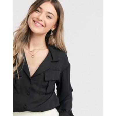 エイソス レディース シャツ トップス ASOS DESIGN long sleeve soft shirt with utility pocket in black Black