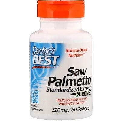 Saw Palmetto、Euromed入り標準化エキス、320 mg、ソフトジェル 60粒