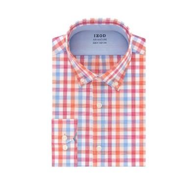 アイゾッド シャツ トップス メンズ Advantage CoolFX Slim Fit Check Print Dress Shirt ORANGE MULTI