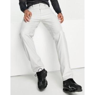 エイソス メンズ デニムパンツ ボトムス ASOS DESIGN dad jeans in light gray leather look Light gray