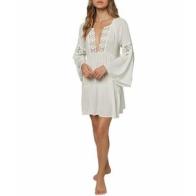 オニール レディース ワンピース トップス Saltwater Solids Bell Sleeve V-Neck Crochet Detail Cover Up Dress White