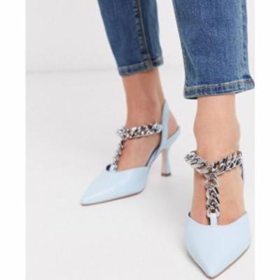 エイソス ASOS DESIGN レディース サンダル・ミュール シューズ・靴 Surprise mid heels with chain in pale blue ペールブルー
