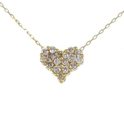 K18YG イエローゴールド ダイヤモンド 0.20ct ハート パヴェ ネックレス 6EAU4189920-KI 天然石