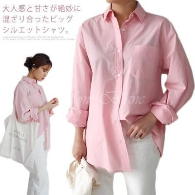 シャツ レディース ロングシャツ カジュアルシャツ ロング丈 チュニックシャツ ビッグシルエット ブラウス トップス 無地 シンプル ゆったり 綿 体