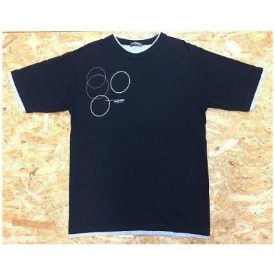 marie claire homme マリクレール オム Lサイズ メンズ Tシャツ プリント レイヤード風 丸首 半袖 綿100% 黒×杢グレー×白×茶色