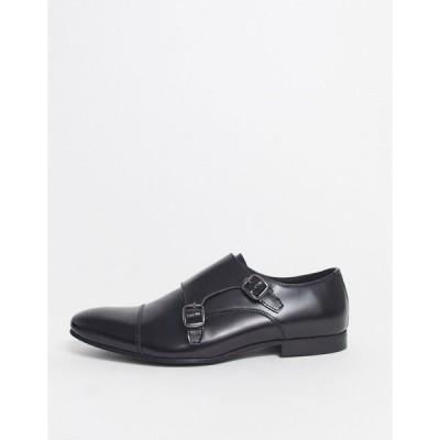 ウォークロンドン メンズ ドレスシューズ シューズ Walk London luca monk shoes in black high shine Black