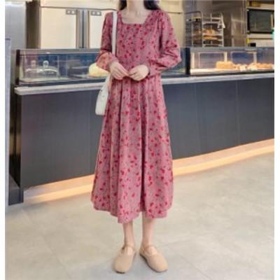 ワンピース フレア 長袖 ロング 大きいサイズ ロング丈 ガーリー ラウンドネック 秋冬 お出かけ 袖あり 花柄 ピンク