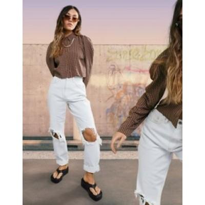 エイソス レディース デニムパンツ ボトムス ASOS DESIGN organic high rise 'slouchy' mom jean in antique white with extreme rips Li