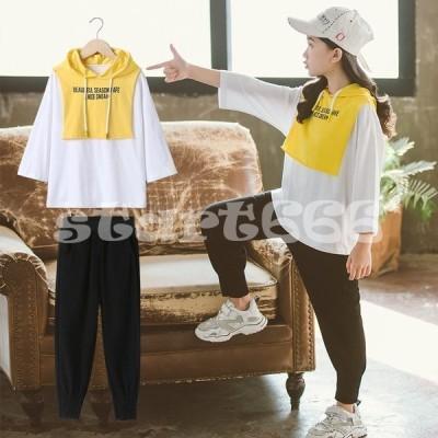 ジャージ キッズ 女子 上下 長袖 春秋 秋着 ジュニア 2点セット 子供服 セットアップ Tシャツ 長ズボン トレーナー スポーツウェア 運動着 可愛い おしゃれ 新品