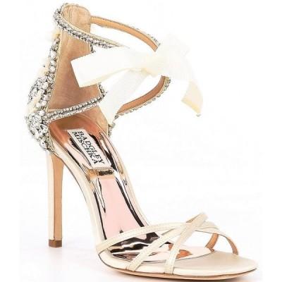 バッジェリーミシュカ レディース サンダル シューズ Joanie Crystal Embellished Satin Dress Sandals Ivory