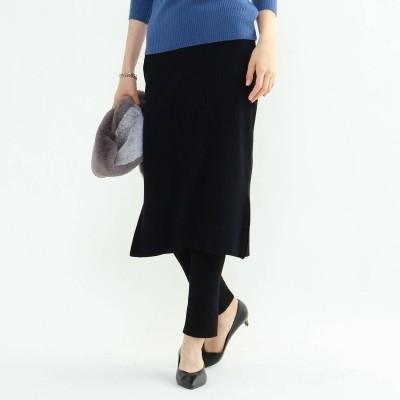 インディヴィ INDIVI [L]レギンス付きニットスカート (ブラック)