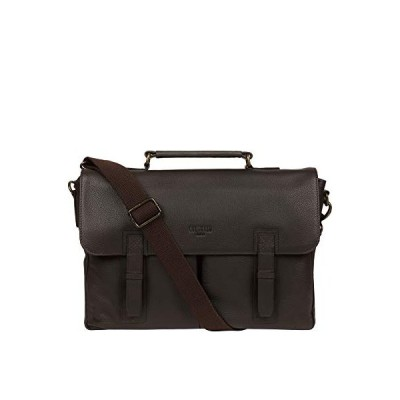 Cultured London Mast 39cm Men's Biodegradable Leather Work Bag with Dual Mock Buckle Secured Fold Over Top, 100% Natural Cotton Lined Compartment and