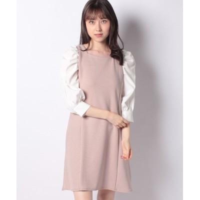 【イング】 サカリバ袖異素材ワンピース レディース ピンク ベージュ M INGNI