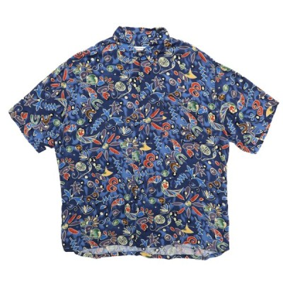 古着 pierre cardin ピエールカルダン ボックスシャツ 総柄 半袖 サイズ表記:XL