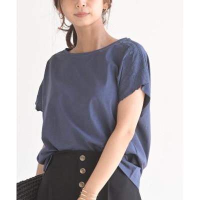 (rps/アールピーエス)刺繍入りスラブカットTシャツ/レディース ネイビー