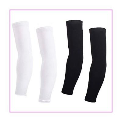 【送料無料】Arm Sleeves For Women Men (2 pair) Cycling Armwarmers Summer UV Sun Protection Black + White L【並行輸入品】