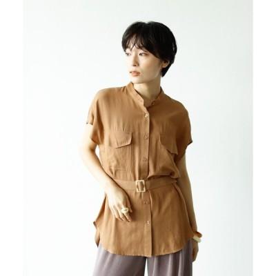シャツ ブラウス 麻風スラブベルト付きバンドカラーシャツ