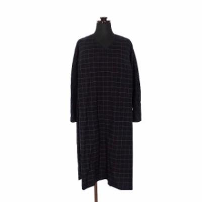 【中古】未使用品 プレット PULETTE ウールプラッド ディープタックドレス ワンピース 長袖 1 ネイビー 紺 PL-OP0153