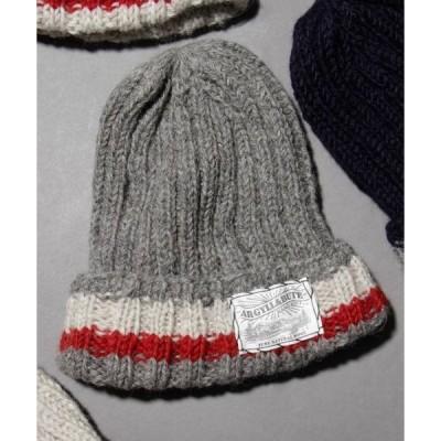 帽子 キャップ ARGYLL AND BUTE (アーガイル・アンド・ビュート)ハンドニット 2ラインニットワッチキャップ